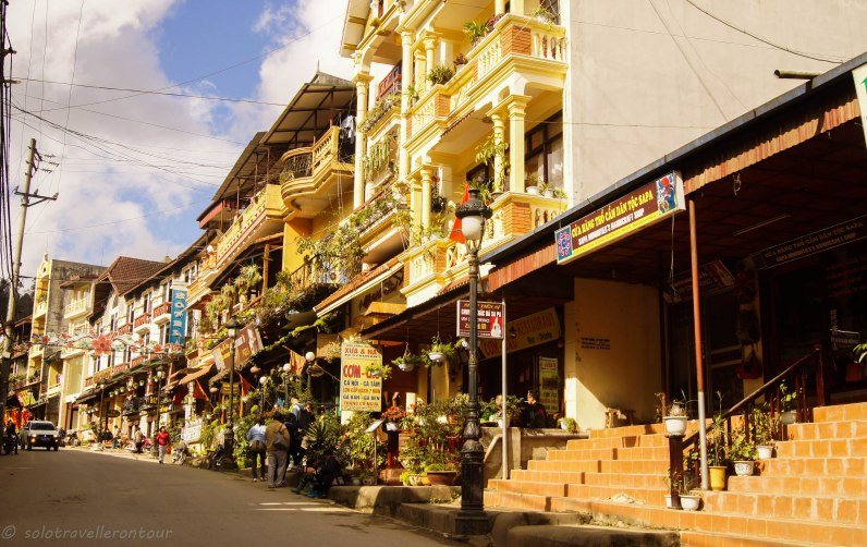 The main street of Sapa full of restaurants and hotels