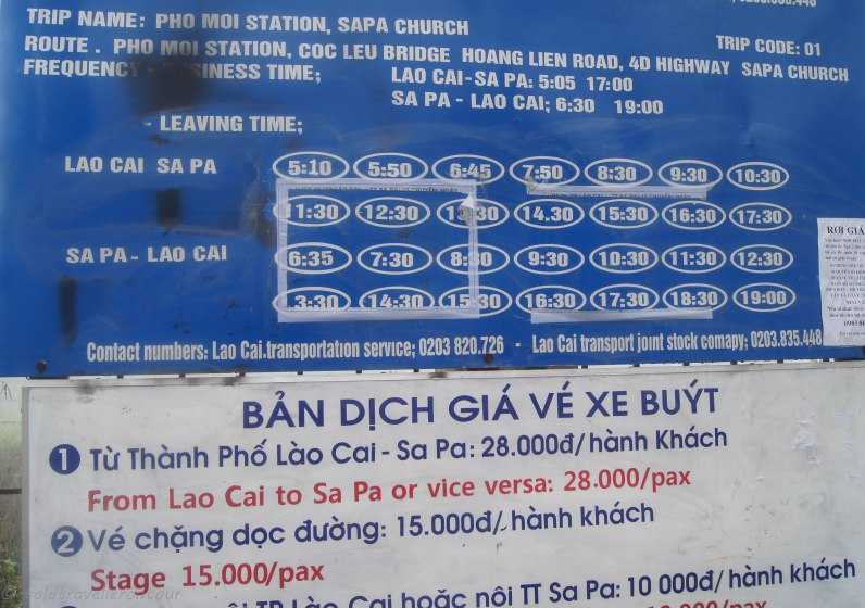Timetable and price for the Lao Cai - Sapa bus