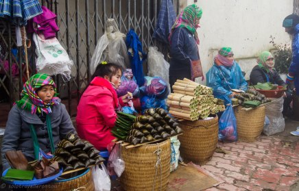 Locals selling their food feeling the cold more than us