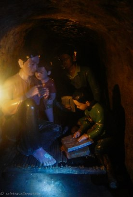The typical room for a family inside the tunnel