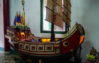 A junk inside the Fujan Chinese Assembly Hall
