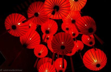 Lanterns inside a bar
