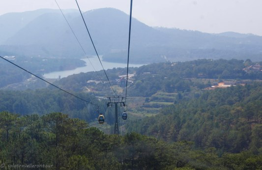 View from the cable car towards the lake