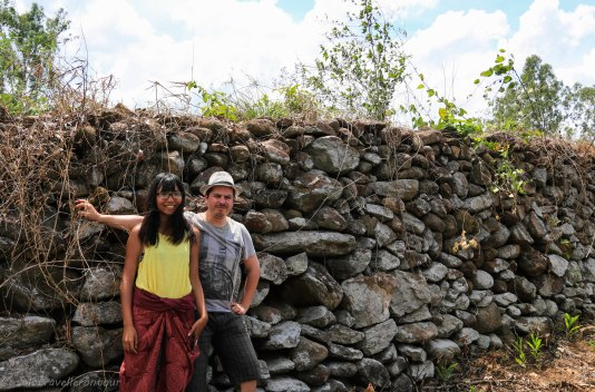Standing in front of Truong Luy wall with the only tourist I met in Quang Ngai