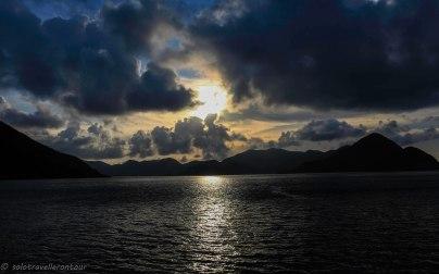 Sun sets over the island