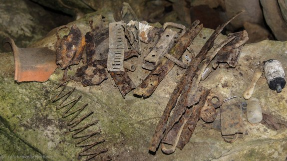 Tools from the locals left behind in the cave
