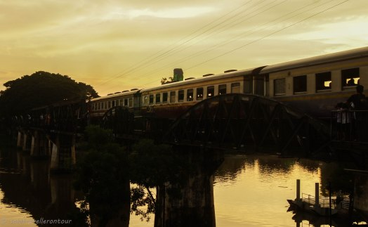Train crossing the bridge of the river Kwai