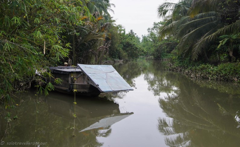 A typical canal in the Mekong Delta