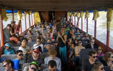 The boat was full...including several plastic chairs