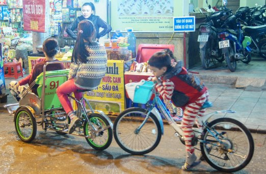 They learn at young ages how to use a cyclo
