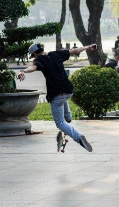 Skaters practising new tricks near the lake