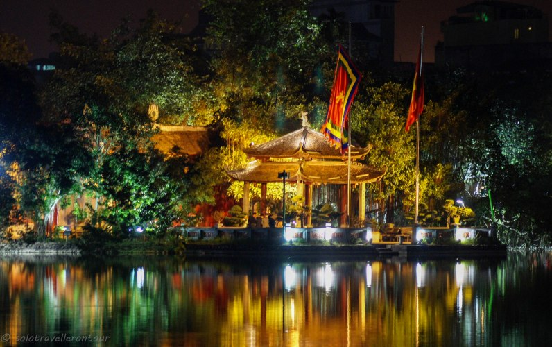 The temple of Jade Mountain at night