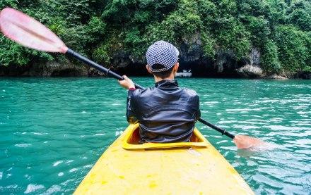 Kayaking through the grottos