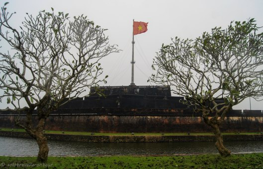 The famous flagpost - from across the river