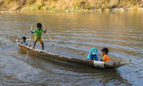 Using walking sticks to paddle