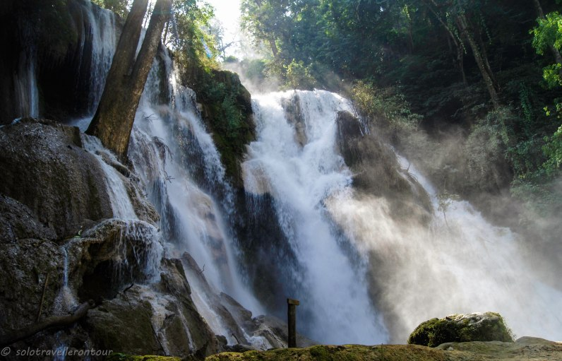 The main fall of the Kuang Si Waterfall