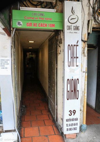 Entrance to the egg coffee cafe