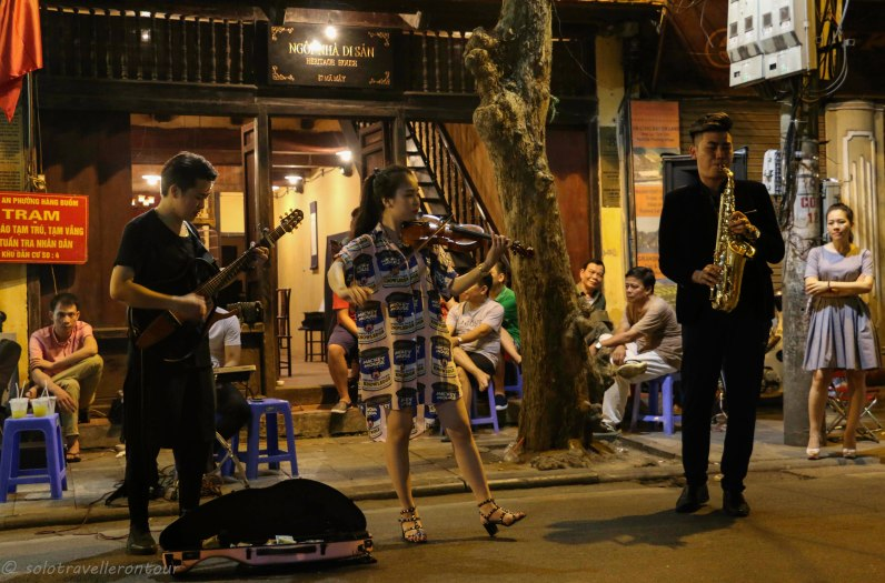The band playing in front of the guesthouse