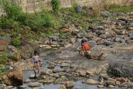 Kids enjoying the dry river bed