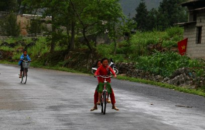 Even in the wet weather kids passed me on their push bikes