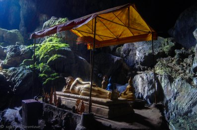 The Buddha statue inside the cave