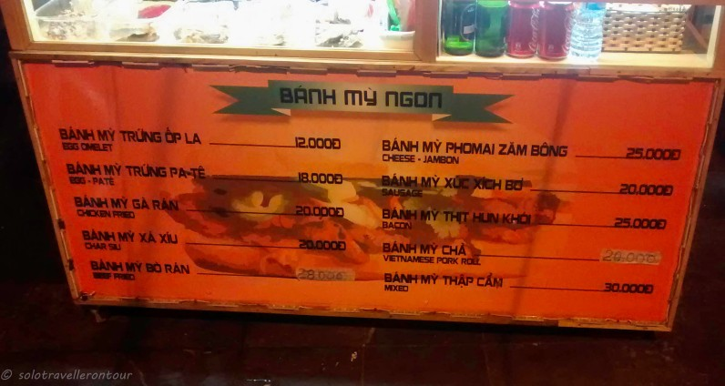 The menu at the stall seling amazing Banh Mi