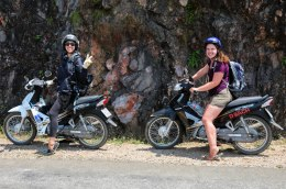 Stephanie and Courtney on their bike - clearly enjoying the ride as well