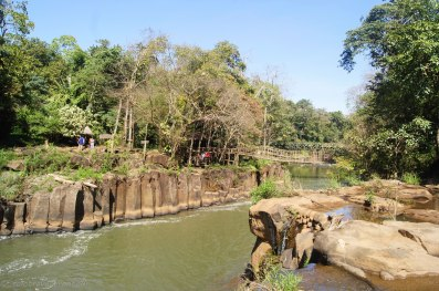 Bamboo bridge and seating area