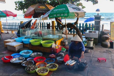 One of the local vendors selling fresh fish and seafood