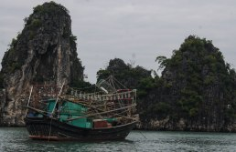 Fishing boat next to a limestone karst