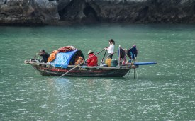 Throughout Halong Bay you can see locals during their daily life