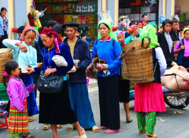 Locals from the minority villages visiting the market