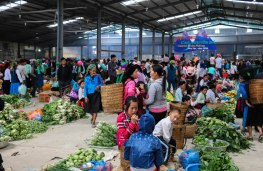 Indoor market with fresh food section