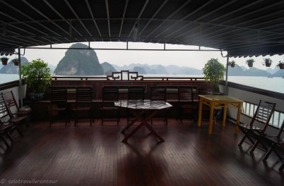 The covered area of the sun deck