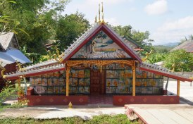 Colourful temple near the village