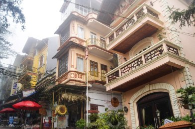 Typical colonial buildings in Sapa