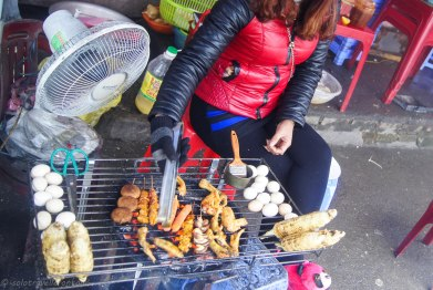 Grilling the meat on the street