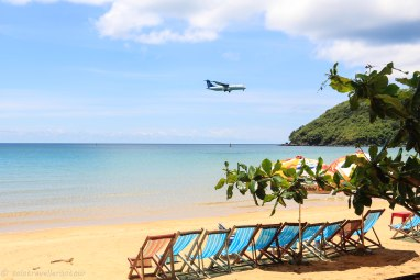 Plane arriving on the island