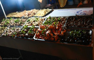 Food on offer at stalls on Tran Huy Lieu