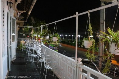 The lovely balcony overlooking the river