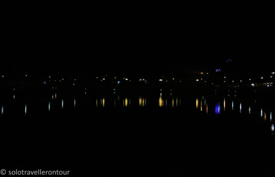 The lake in Ben Tre by night