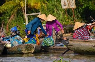 Floating shops are still popular in the Mekong Delta