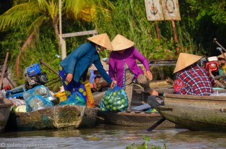 Floating shops are still popular in the Mekong Delta