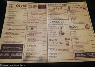 The menu of the cafe (excluding the hot dishes - which is a separate menu)