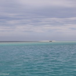 The sandbank ahead of us